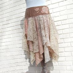 Gypsy Lace Skirt Tattered Hippie Fairytale by GallimaufryClothing, $88.00