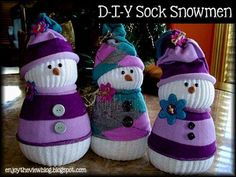 Directions for Sock Snowman Craft   ... Here for Olaf Sock Snowmaen Directions from 'One Creative Mommy