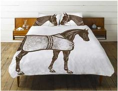 Love these, but DH would not ;-)  Thomas Paul Thoroughbred Shams  horse sheet,   draps house imprimé cheval