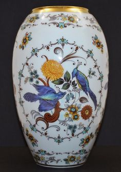 "Royal Porzellan Bavaria KPM Hand-painted Gold Gilt Rim Vase 9.25"" GORGEOUS #KPM"