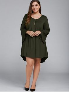 GET $50 NOW   Join RoseGal: Get YOUR $50 NOW!http://www.rosegal.com/plus-size-dresses/plus-size-flare-sleeve-lace-up-805533.html?seid=8581705rg805533