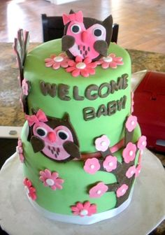 Owl Baby Shower Cake First time using my cricut machine. The theme for this shower was pink tie dye and lime green. Cupcakes, Cupcake Cakes, Beautiful Cakes, Amazing Cakes, Cake Pops, Cricut Cake, Cake Machine, Owl Cakes, Animal Cakes