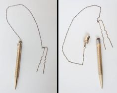 Vintage 1920s Hair Pin / 20s Gold Plate Mechanical Pencil Hair Chain by FloriaVintage on Etsy
