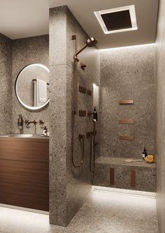 30 Fabulous Small Bathroom Ideas For Your Apartment : Small Bathroom Apartment Design Ideas 150 Modern Bathroom Design, Bathroom Interior Design, Bath Design, Tile Design, Bathroom Designs, Modern Design, Spa Interior, Shower Designs, Spa Design
