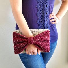 Tweed Bow Clutch Purse  Cream and Burgundy by TinyBubblesCrafts