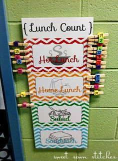 Lunch Count-Students are able to move their clothespins with either their name or number that corresponds to them.  It allows them to do another activity on their own.  Easy to see how many are absent.