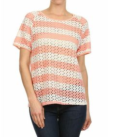 Look what I found on #zulily! Peach & White Stripe Cutout Top - Women by Le Lis Collection #zulilyfinds