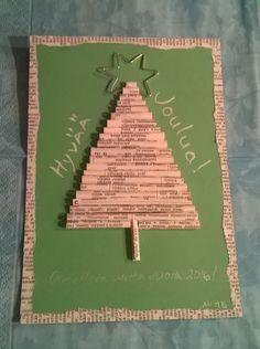 Joulukuusikortti – rullattut paperit + metallilanka
