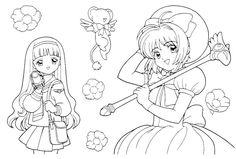 Sakura,Tomoyo and Kero Lineart by 453679 on DeviantArt