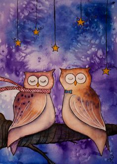 5x7 Owl Love Print 'Wish Upon a Star' by 650Willowdale on Etsy