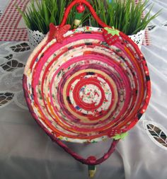 HANDMADE COILED BASKET MULTI COLOR COTTON FABRICS ROPE QUILTED SERVING BOAWL