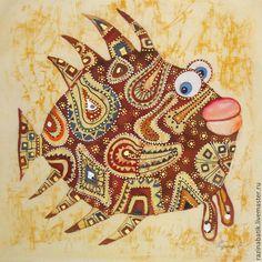 Купить Лоскутная рыбка( батик панно) - коричневый, рыба, этно, картина, Батик, орнамент, подарок