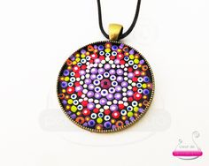 'The Power of Love' - Acrylic painting on a metallic pendant
