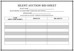 31 best silent auction bid sheet templates images on pinterest