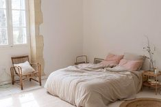 at home in france with olivia thebaut. / sfgirlbybay rustic modern bedroom with linen bedding. Stylish Bedroom, Cozy Bedroom, Home Decor Bedroom, Master Bedroom, Bedroom Rustic, Bedroom Ideas, Home Interior, Interior Design, Minimalist Bedroom