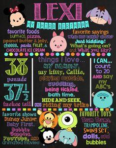 Tsum Tsum Birthday Chalkboard Poster DIGITAL by VickiTsCreations