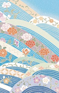 Love these scenes Chinese Patterns, Japanese Patterns, Japanese Fabric, Japanese Design, Japanese Art, Japanese Wallpaper Iphone, Flowery Wallpaper, Wallpaper Iphone Disney, Pattern Wallpaper