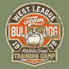 Bulldog football team - Artwork for boy wear in custom colors - Grunge effect in separate layer photo