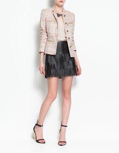 piped blazer. beaded peter pan collar shirt. fringe skirt. gold wedge. love. it. ALL!