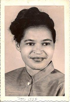 Rosa Parks in 1956 -  African-American civil rights activist, one of the first persons to resist bus segregation