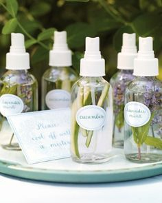 All-Natural Mists simply fill mist bottles with water and a few strips of julienned cucumber or sprigs of lavender and mint.