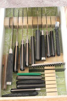 DIY knife drawer block