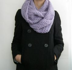 Lavender infinity scarf lilac crochet loop scarf wool by sascarves, $42.00