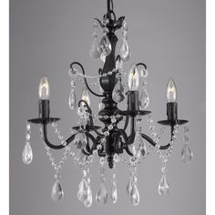 Found it at Wayfair - Wrought Iron and Crystal 4 Light Crystal Chandelier