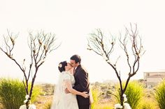 used Manzanita trees as our wedding arch and branches wedding branches