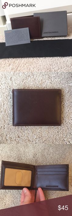Johnston & Murphy men's slim fit leather wallet Authentic Johnston & Murphy slim-fit wallet. Beautiful brown Italian leather. Comes with original box and dust cloth. NEVER USED. Bought as a gift for my husband but he was looking for a different style. There is a minor scratch on front of wallet (see pics). It was there when I purchased it from a Johnston & Murphy store. Bags Wallets