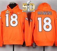 Men s Nike NFL Denver Broncos  18 Peyton Manning Orange Hoodies Nfl Denver  Broncos 28e7b9089