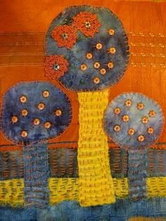 Ro Bruhn - hand dyed and stitched, fabric picture
