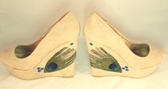 Nude Peacock Wedges by ViciousElegance on Etsy, $65.00