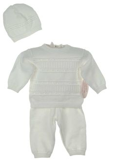 NEW Imagewear White Cotton Knit Pants, Sweater, and Hat Set $65.00