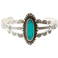 Charlotte Russe Silver Cut-Out Turquoise Cuff Bracelet by Charlotte... ($6) ❤ liked on Polyvore featuring jewelry, bracelets, silver, silver turquoise jewelry, hinged cuff bracelet, silver bangles, bracelet bangle and silver cuff bangle