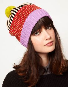 All Knitwear Strawberry Stripe Bobble Hat