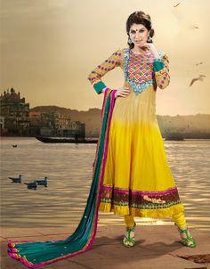 Gleaming Papayawhip & Yellow Salwar Kameez | StylishKart.com