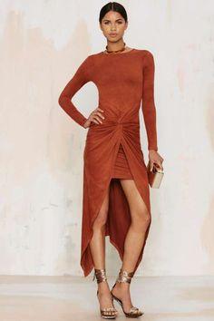 Knot Pursuit Vegan Suede Midi Dress - What's New : Clothes