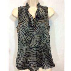 "Ann Taylor Petites Zebra Print Black Gray Blouse Ann Taylor Petites Size 2P Black Gray Zebra Print 100% Silk Blouse Ruffle Collar  Measured Laying Flat   Pit to Pit - 18"" Collar to Tail - 24"" Ann Taylor Tops Blouses"