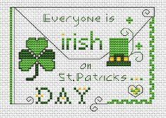 St Patrick's Day free cross stitch pattern
