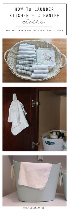 Hang a 3M Command hook on the inside of your kitchen cupboard to prevent stinky dishcloths.