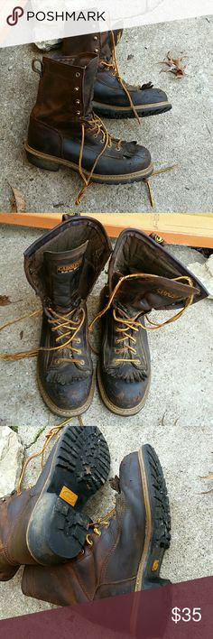 Carolina Work boots Steel toe logger boot. Waterproof. Been used less than a year. Has wear, but still has plenty of life left. Carolina Shoes Boots
