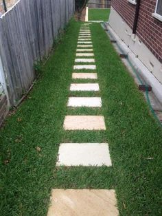 Beautiful contrast between Himalayan Sandstone stepping stones and green turf.