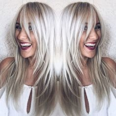 The Culture of Hairdressing Long fringed bangs. Icy cool silver blonde color by Erica at House Of Cabelo using R+Co, Olaplex, Redken, and Oribe Blonde Hair With Bangs, White Blonde Hair, Icy Blonde, Balayage Hair Blonde, Blonde Color, Brunette Hair, Hair Color, Long Blonde Haircuts, Long Hair Cuts