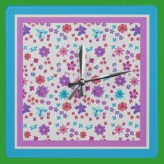 Shop Pretty Hippy Flower-Power Floral Pattern on White Square Wall Clock created by helikettle.