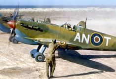 in his Supermarine Spitfire Mark V, 'AN-T', at Goubrine, sqd 1943 Ww2 Aircraft, Fighter Aircraft, Military Aircraft, Fighter Jets, Spitfire Supermarine, The Spitfires, Ww2 Planes, Royal Air Force, Aviation Art