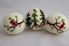 3 Wool Dryer Balls, for Morgan Rigsby  To this Earth be gentle, to this Earth be kind! What better way then to reduce your carbon footprint and these 100% all natural wool dryer balls will help you take care of this Earth.  Each ball is felted from 100% merino wool and then needle felted with images! Each ball is the approximate size of a tennis ball. 3 will usually work well in a regular load of cloths, use more for larger loads.  *Dryer balls save money. *Dryer balls will save you energy…