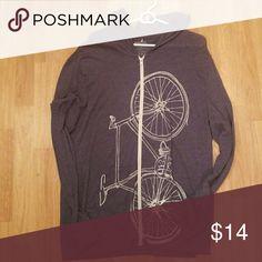 """Bicycle hoodie zip Washed out """"vintage blue"""" with bicycle print vial Tops Sweatshirts & Hoodies"""