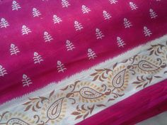 Block Print Fabric Cotton Floral Indian Pink Brown Camel by RaajMa