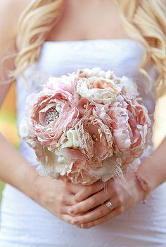 Custom Demi Fabric Bridal Wedding Bouquet by AntiquityBridal, $200.00